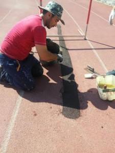 Επιδιορθώσεις στο ταρτάν του Σταδίου