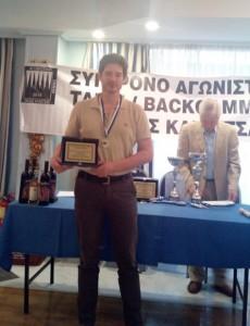 Τιμήθηκε ο πρωταθλητής στο τάβλι Χρ. Γρούτσος