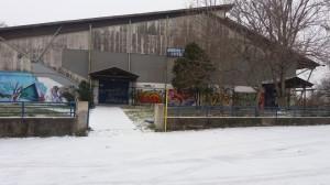 Εικόνες  χιονιού από το Δημοτικό Κλειστό